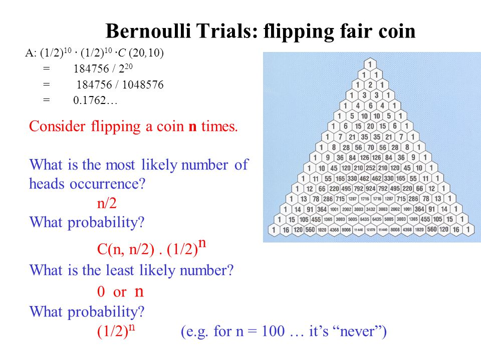 Bernoulli Trials: flipping fair coin A: (1/2) 10 · (1/2) 10 ·C (20,10) =184756 / 2 20 = 184756 / 1048576 = 0.1762… Consider flipping a coin n times.