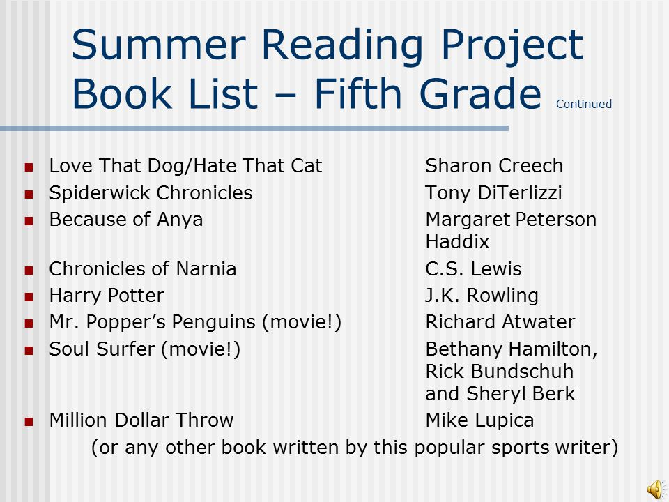Summer Reading Project Book List – Fifth Grade Any Gordon Korman book or series HatchetGary Paulsen HolesLouis Sachar The Cay Theodore Taylor Island of the Blue Dolphin Scott O'Dell The Lightning Thief Series (movie!)Rick Riordan When You Reach Me Rebecca Stead (a recent Newberry Winner!) The 39 CluesVarious Authors The Hunger Games (movie!)