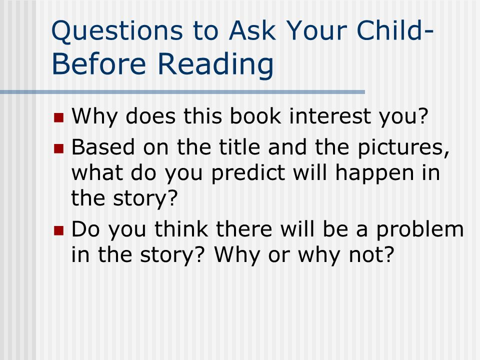 For Parents Questions to ask your readers