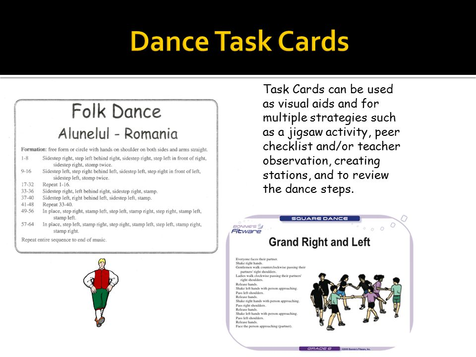 Sample Folk Dance Rubric Task Cards can be used as visual aids and for multiple strategies such as a jigsaw activity, peer checklist and/or teacher ob