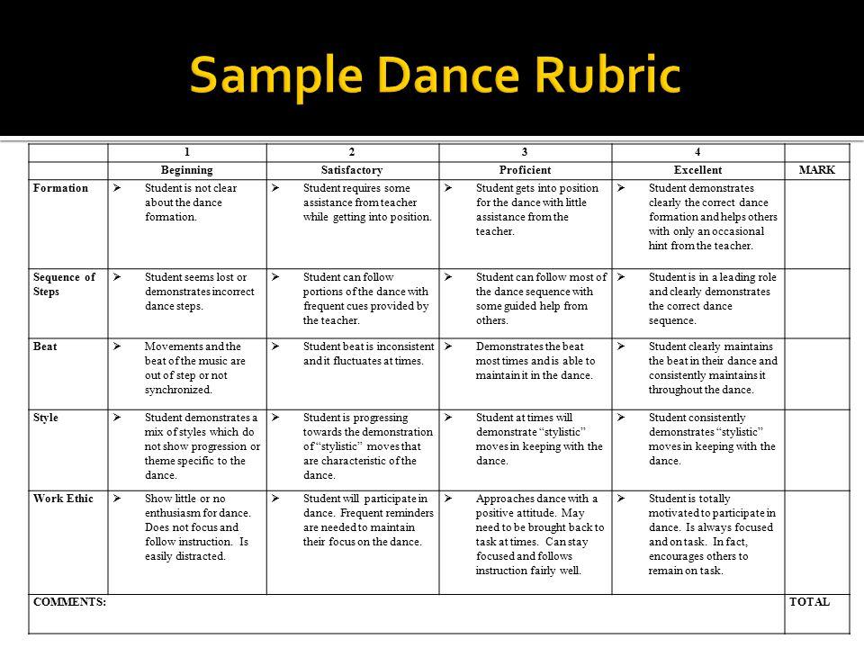 1234 BeginningSatisfactoryProficientExcellentMARK Formation  Student is not clear about the dance formation.  Student requires some assistance from
