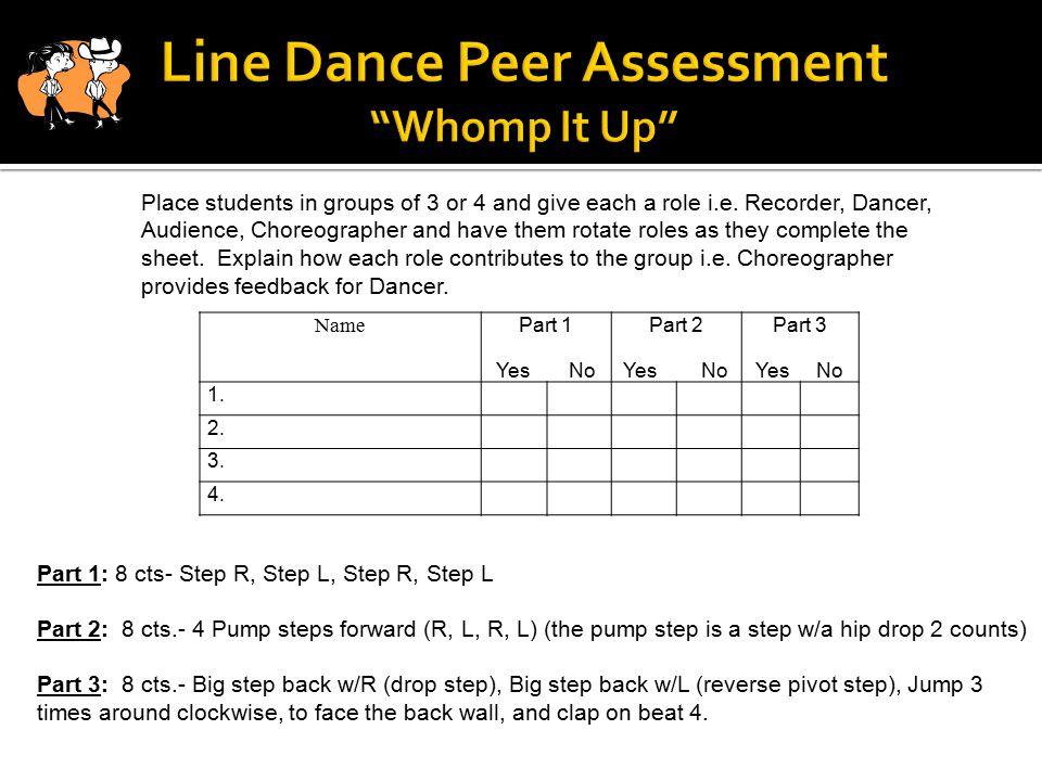 Name Part 1 Yes No Part 2 Yes No Part 3 Yes No 1. 2. 3. 4. Part 1: 8 cts- Step R, Step L, Step R, Step L Part 2: 8 cts.- 4 Pump steps forward (R, L, R