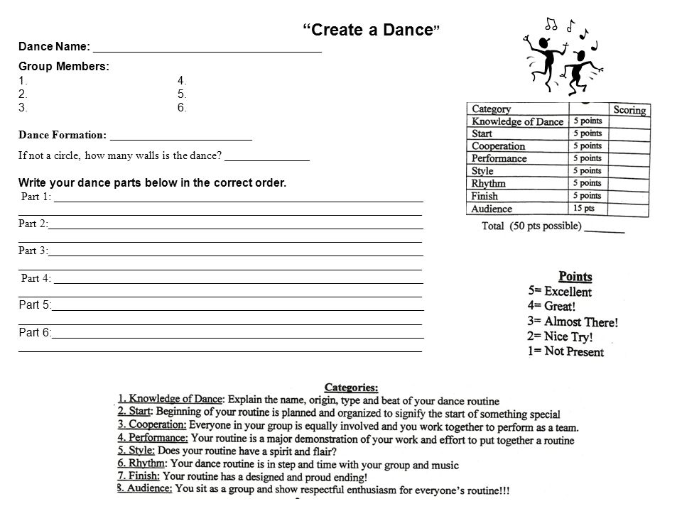 """""""Create a Dance """" Dance Name: ____________________________________ Group Members: 1.4. 2.5. 3.6. Dance Formation: _________________________ If not a c"""