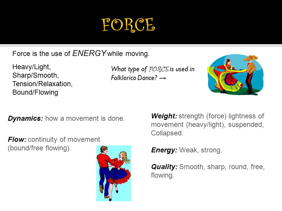 Dynamics: how a movement is done. Flow: continuity of movement (bound/free flowing). Weight: strength (force) lightness of movement (heavy/light), sus