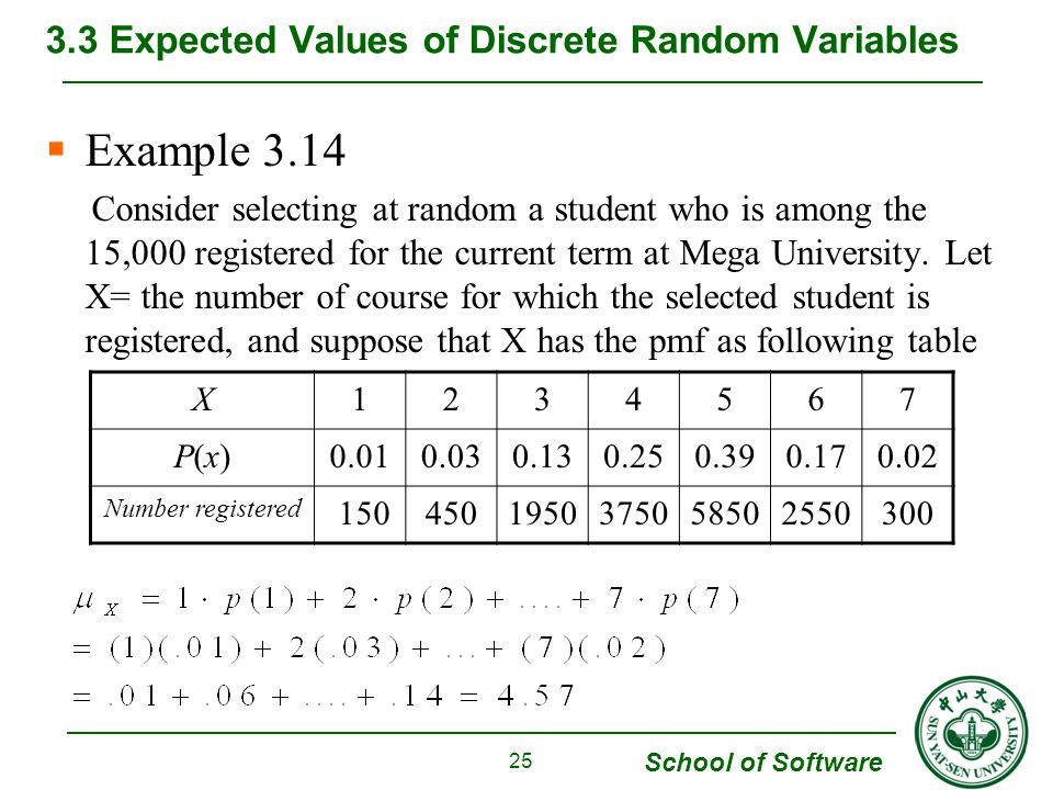 School of Software  Example 3.14 Consider selecting at random a student who is among the 15,000 registered for the current term at Mega University. L