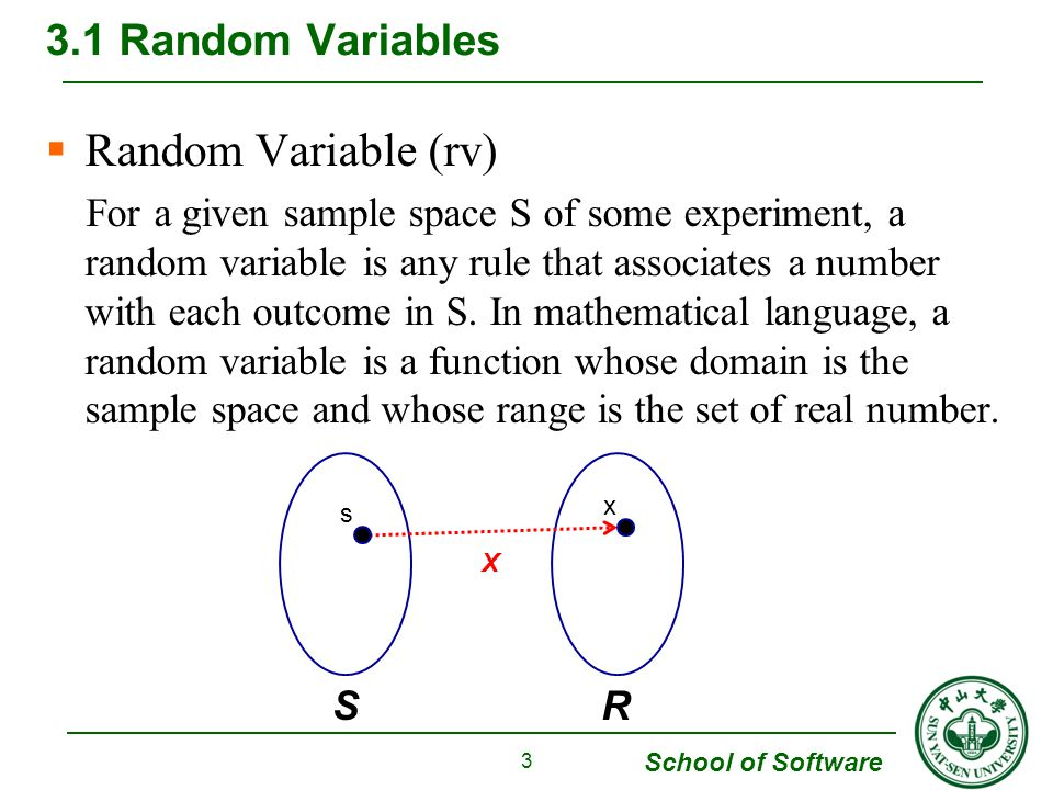 School of Software  Random Variable (rv) For a given sample space S of some experiment, a random variable is any rule that associates a number with e