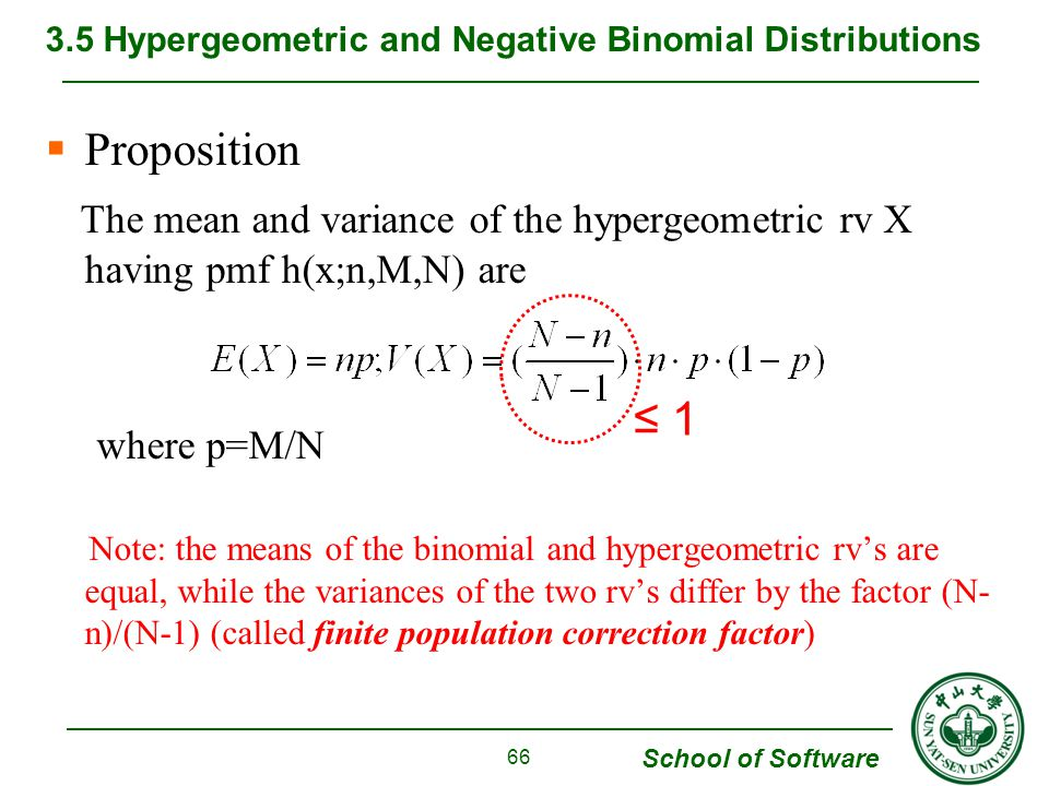 School of Software  Proposition The mean and variance of the hypergeometric rv X having pmf h(x;n,M,N) are where p=M/N Note: the means of the binomia