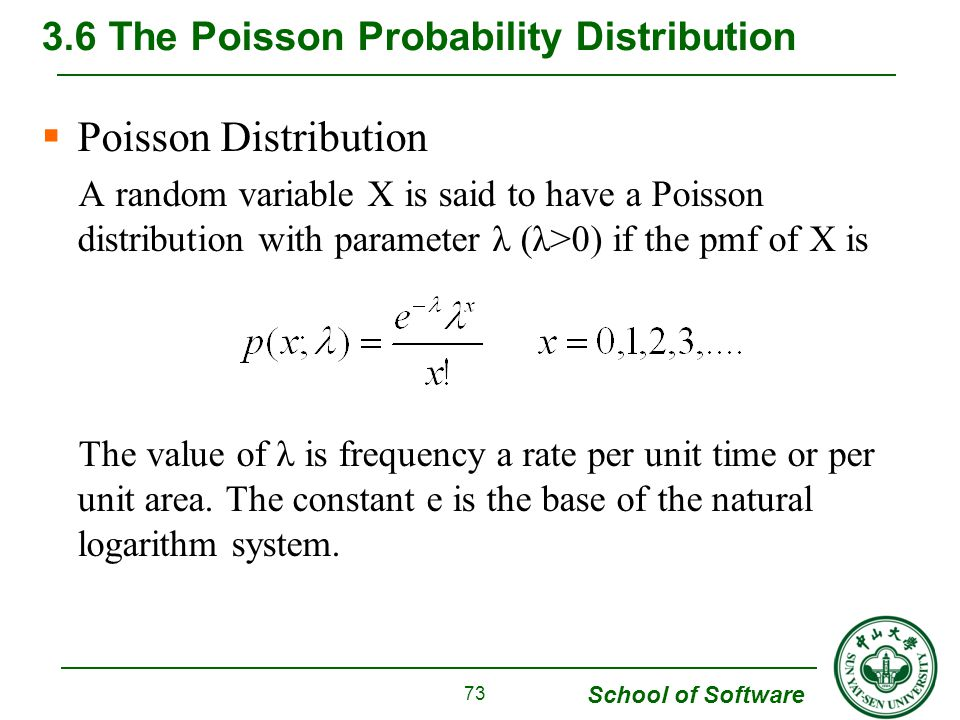 School of Software  Poisson Distribution A random variable X is said to have a Poisson distribution with parameter λ (λ>0) if the pmf of X is The val