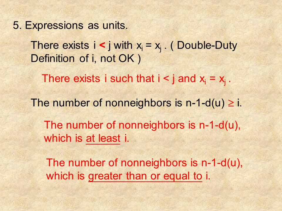 5. Expressions as units. There exists i < j with x i = x j.