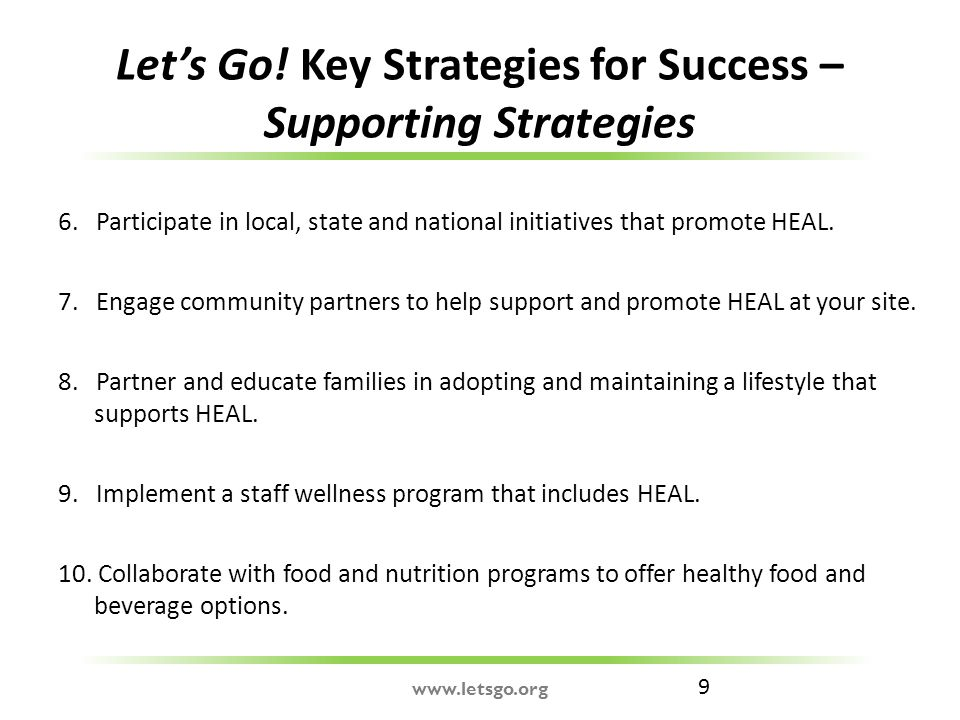9 Let's Go. Key Strategies for Success – Supporting Strategies 6.