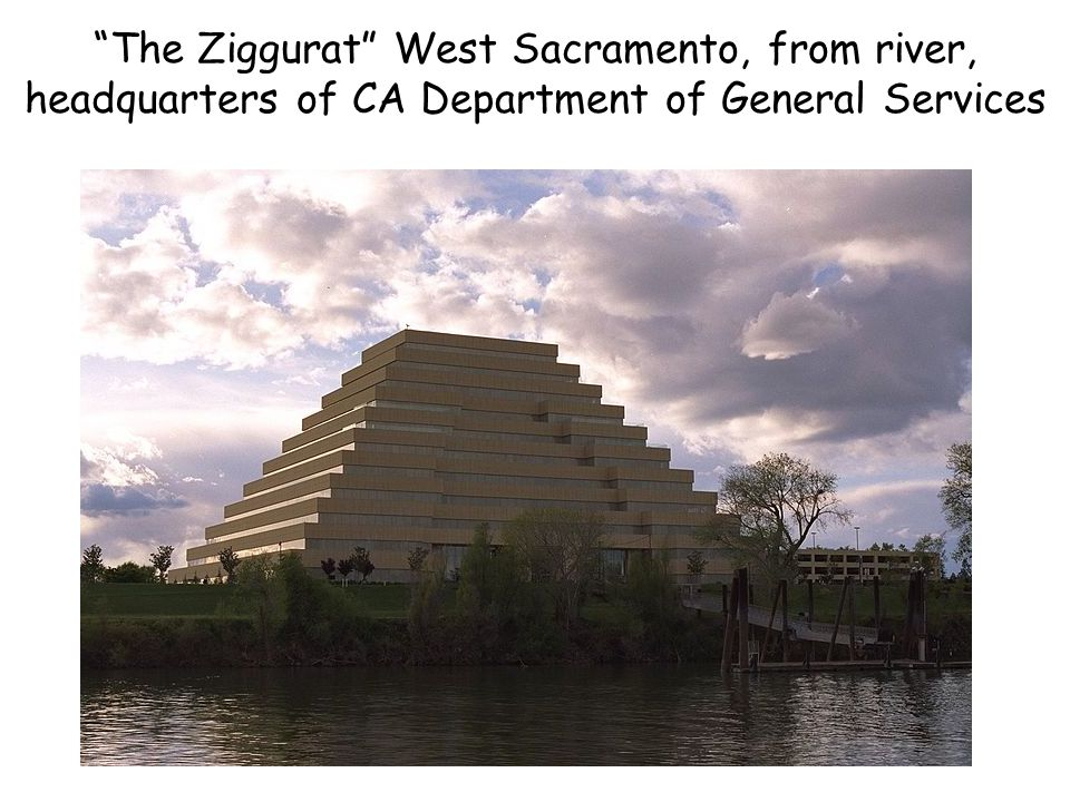The Ziggurat West Sacramento, from river, headquarters of CA Department of General Services
