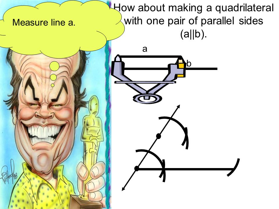 How about making a quadrilateral with one pair of parallel sides (a||b). a b Measure line a.