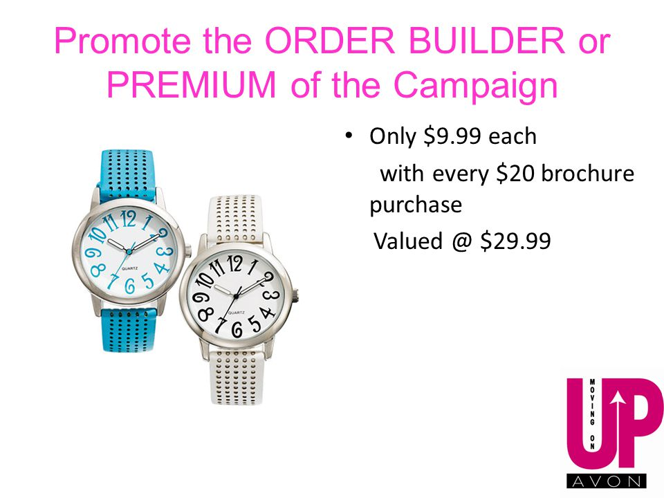 Promote the ORDER BUILDER or PREMIUM of the Campaign Only $9.99 each with every $20 brochure purchase Valued @ $29.99