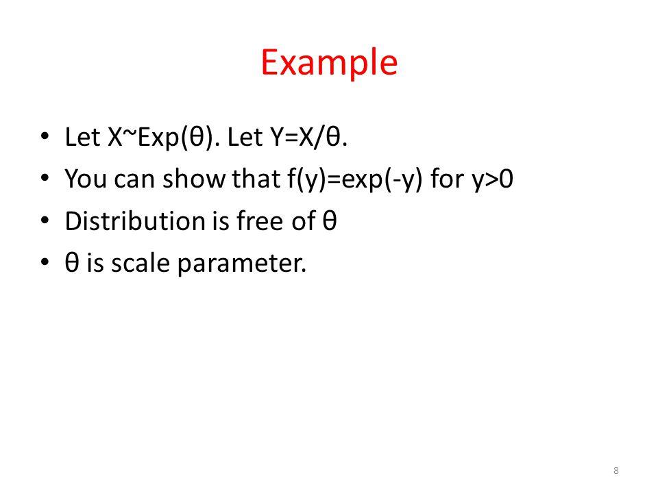 Example Let X~Exp(θ). Let Y=X/θ.