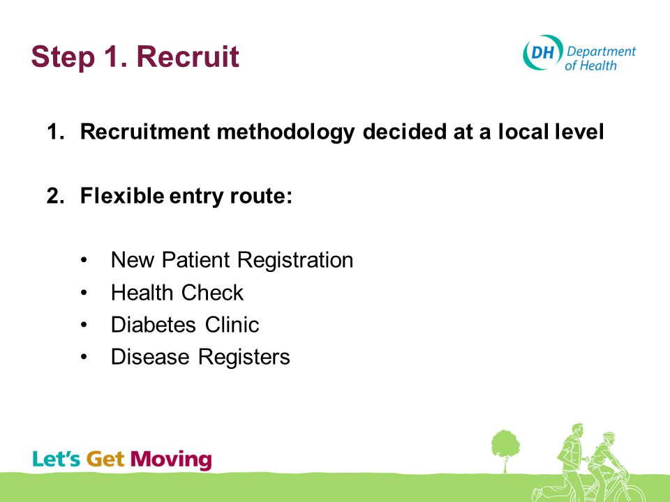 Step 1. Recruit 1.Recruitment methodology decided at a local level 2.Flexible entry route: New Patient Registration Health Check Diabetes Clinic Disea