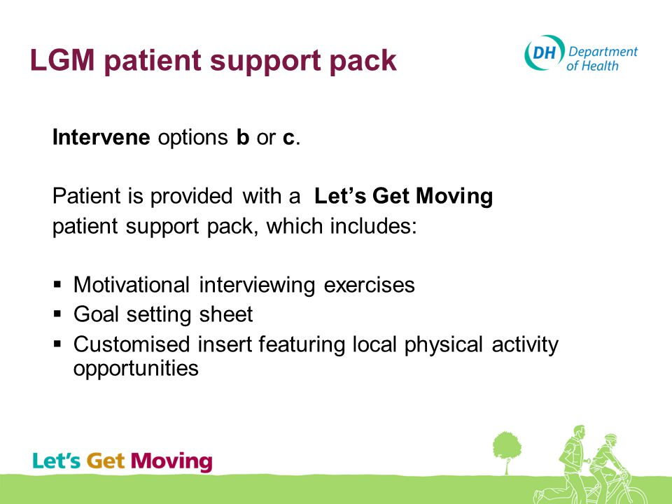 LGM patient support pack Intervene options b or c. Patient is provided with a Let's Get Moving patient support pack, which includes:  Motivational in
