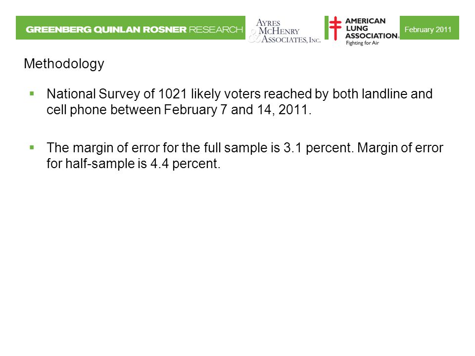 February 2011 Methodology  National Survey of 1021 likely voters reached by both landline and cell phone between February 7 and 14, 2011.