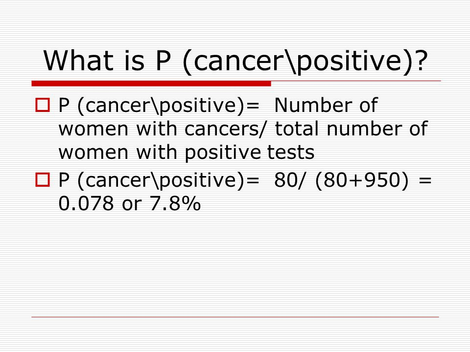 So, we have 4 groups of women  Group A: 80 women with breast cancer, and a positive mammography.