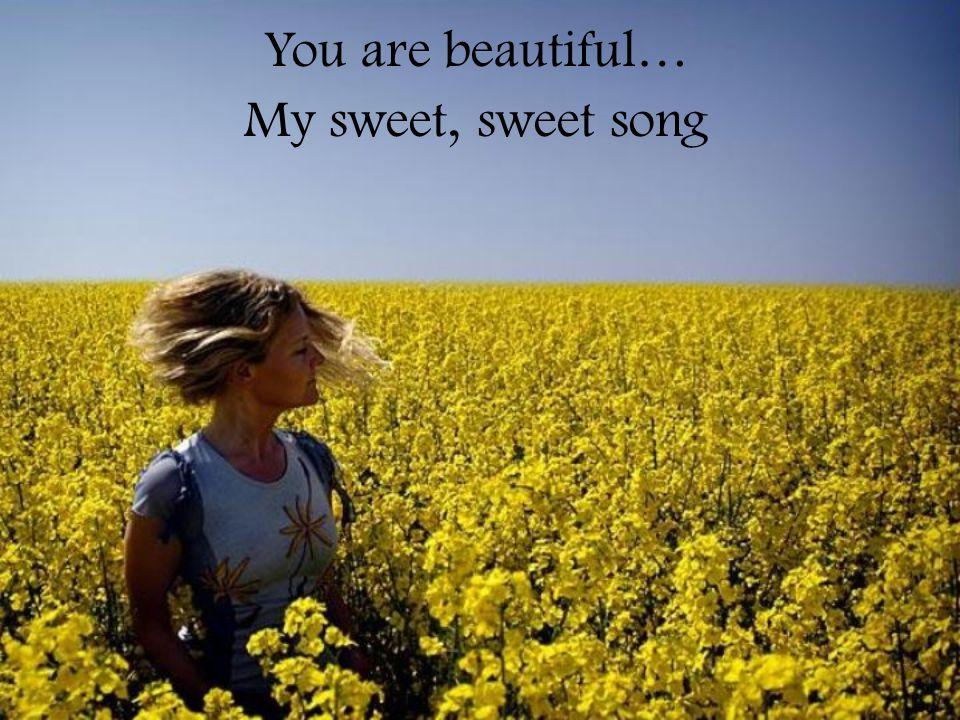 You are beautiful… My sweet, sweet song