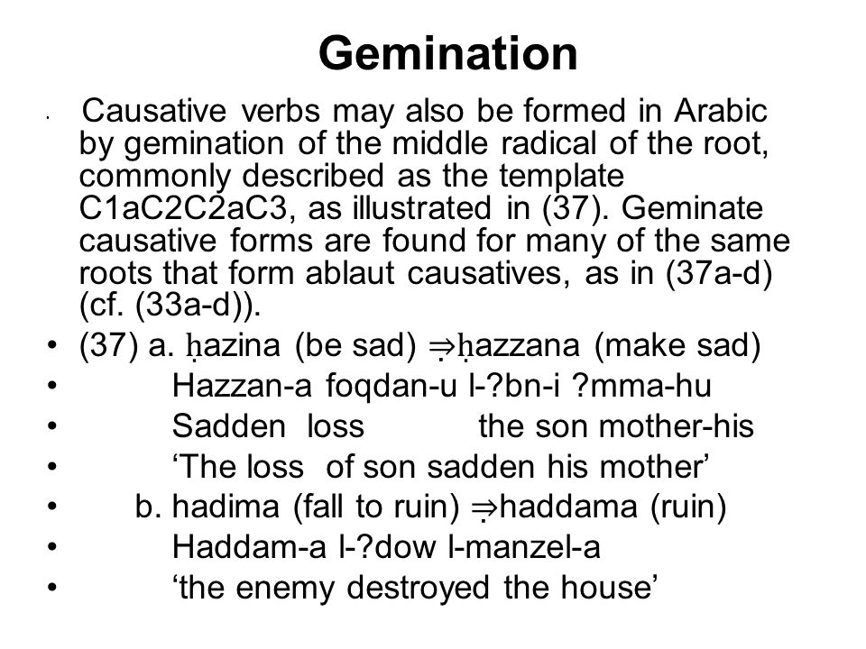 Gemination Causative verbs may also be formed in Arabic by gemination of the middle radical of the root, commonly described as the template C1aC2C2aC3