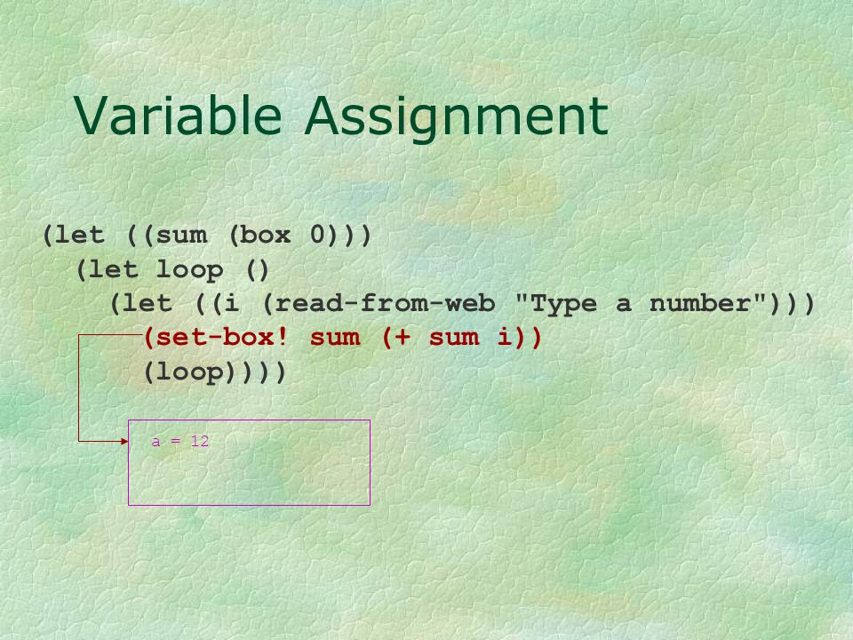 Variable Assignment (let ((sum (box 0))) (let loop () (let ((i (read-from-web