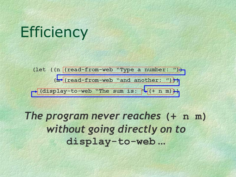 """Efficiency (let ((n (read-from-web """"Type a number: """")) (m (read-from-web """"and another: """"))) (display-to-web """"The sum is: """" (+ n m))) The program never"""
