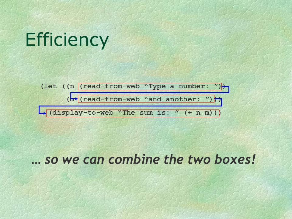 """Efficiency (let ((n (read-from-web """"Type a number: """")) (m (read-from-web """"and another: """"))) (display-to-web """"The sum is: """" (+ n m))) … so we can combi"""