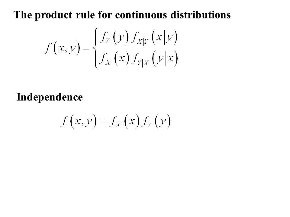The product rule for continuous distributions Independence