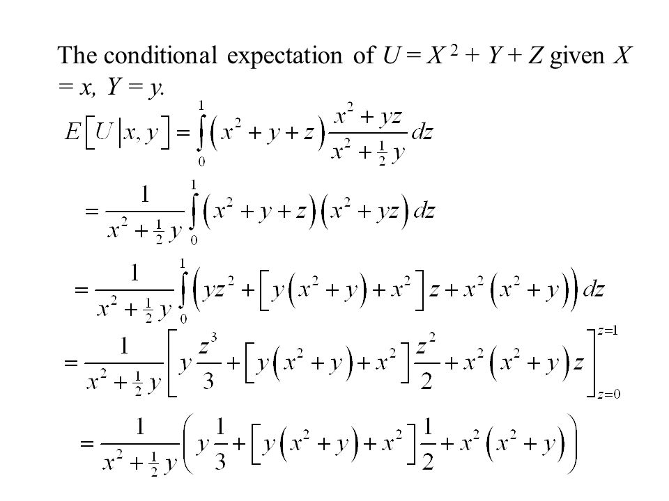 The conditional expectation of U = X 2 + Y + Z given X = x, Y = y.