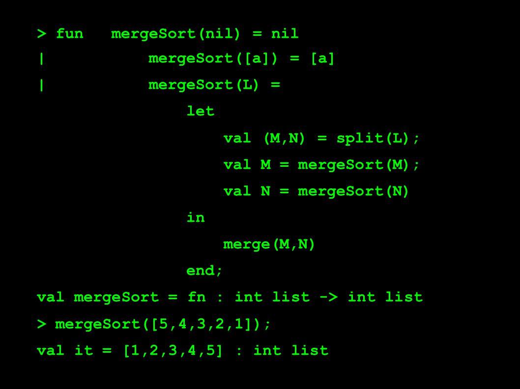 > funmergeSort(nil) = nil | mergeSort([a]) = [a] | mergeSort(L) = let val (M,N) = split(L); val M = mergeSort(M); val N = mergeSort(N) in merge(M,N) end; val mergeSort = fn : int list -> int list > mergeSort([5,4,3,2,1]); val it = [1,2,3,4,5] : int list