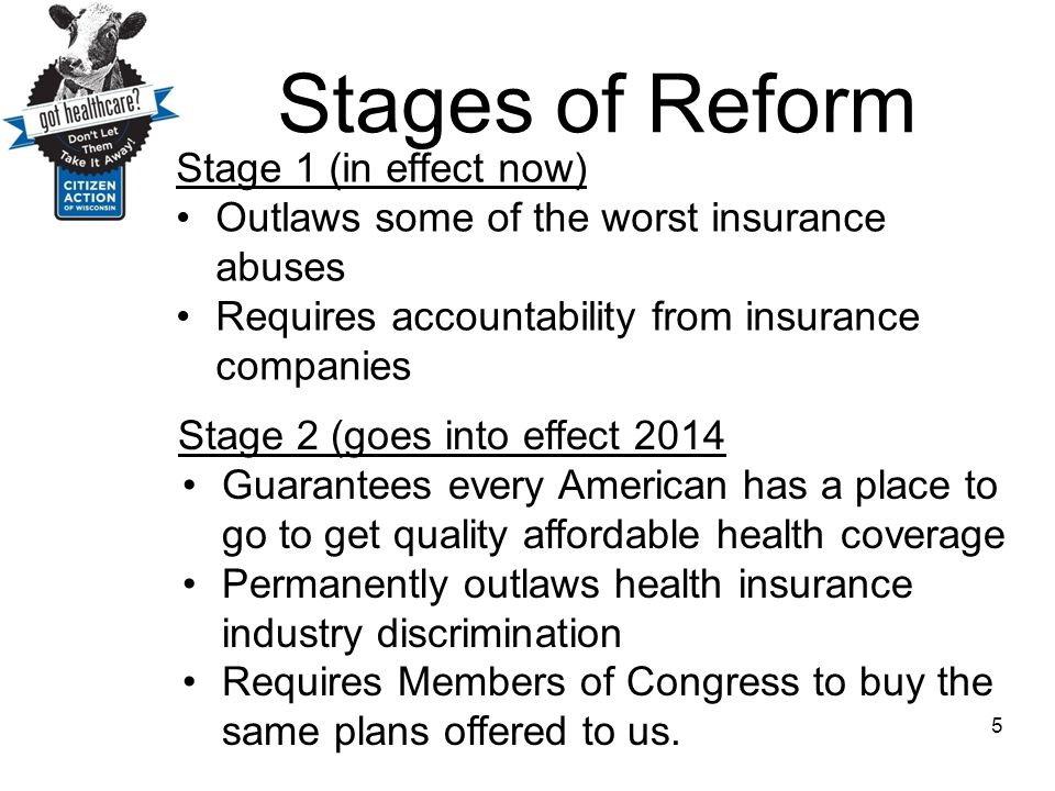 Stages of Reform Stage 1 (in effect now) Outlaws some of the worst insurance abuses Requires accountability from insurance companies 5 Stage 2 (goes i