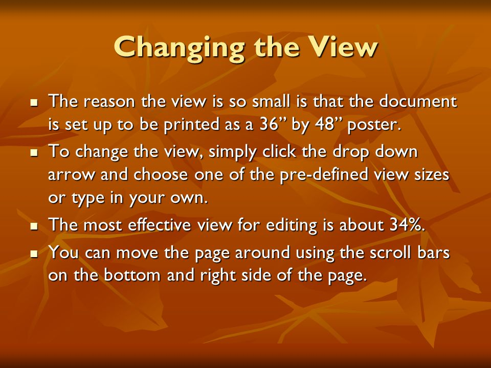 Changing the View The reason the view is so small is that the document is set up to be printed as a 36 by 48 poster.