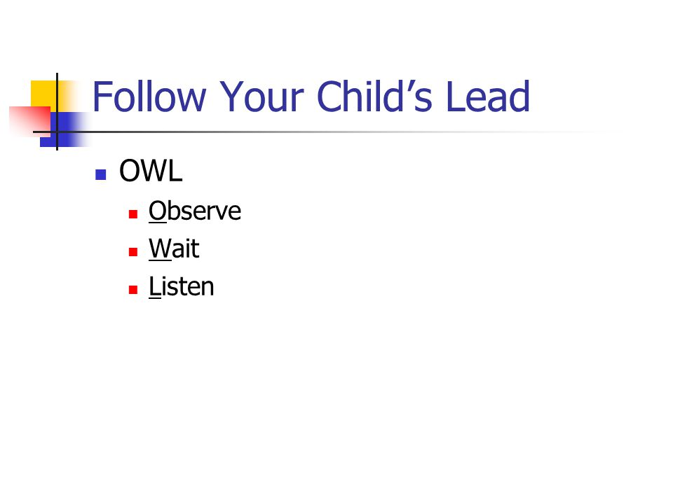Follow Your Child's Lead OWL Observe Wait Listen