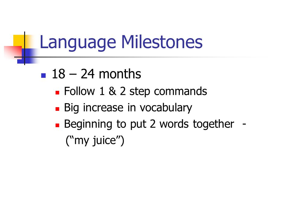 Language Milestones 24 – 30 months Knows actions Vocabulary includes nouns and verbs 2 & 3 word phrases consistently Uses words for more than just labeling