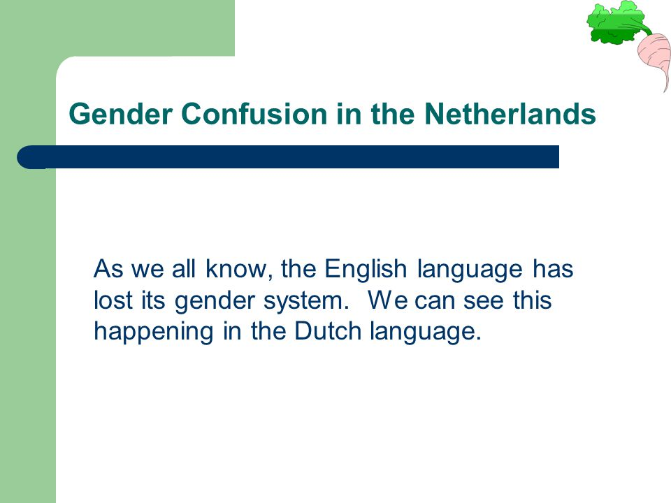 Gender Confusion in the Netherlands As we all know, the English language has lost its gender system. We can see this happening in the Dutch language.