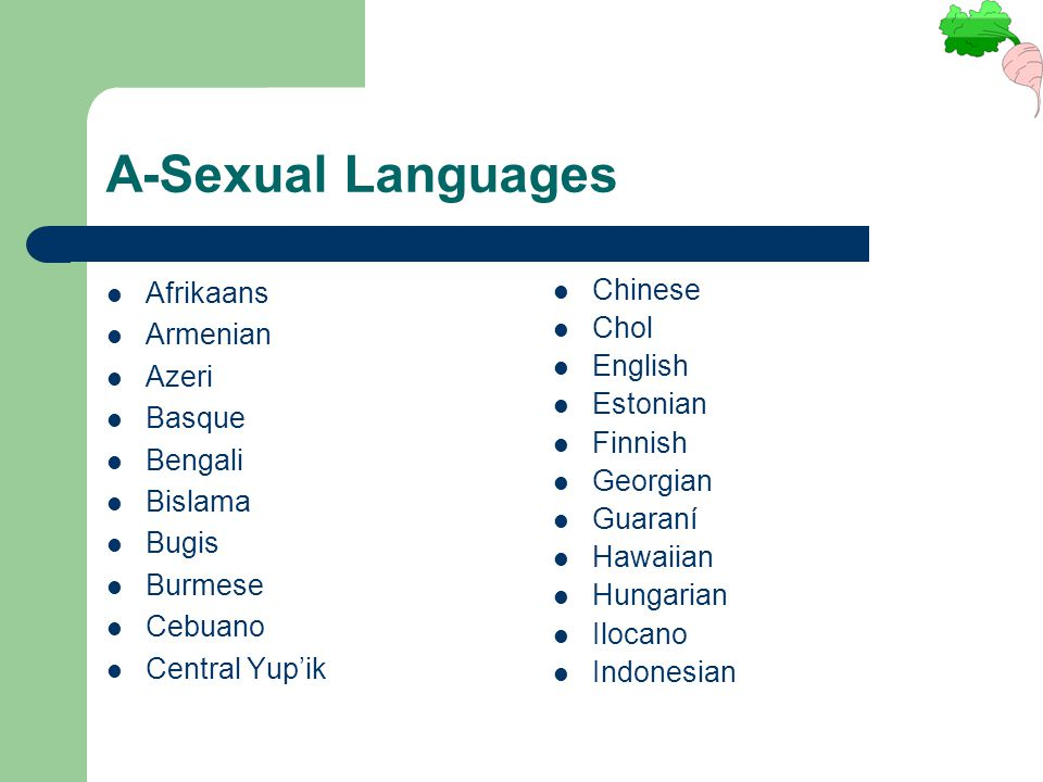 A-Sexual Languages Afrikaans Armenian Azeri Basque Bengali Bislama Bugis Burmese Cebuano Central Yup'ik Chinese Chol English Estonian Finnish Georgian
