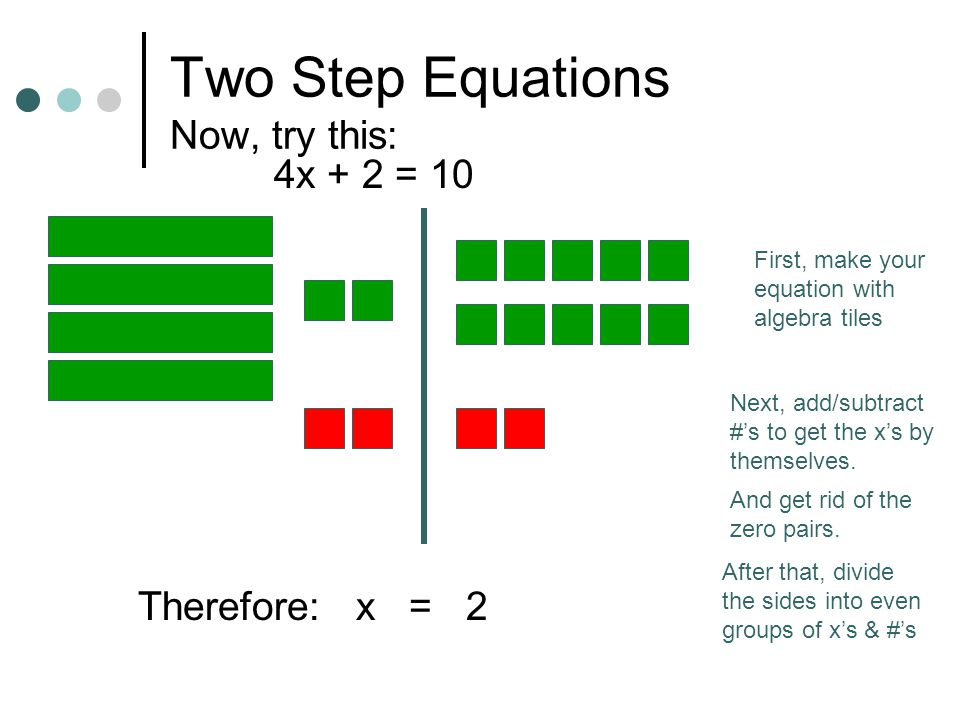 Two Step Equations 2X + 4 = 6 The first thing is to get the x's by themselves.
