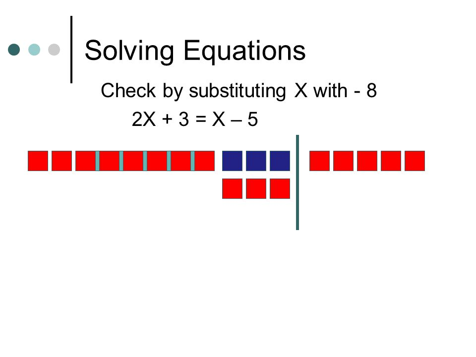Solving Equations- Variables on both sides 2X + 3 = X – 5 X + 3 = - 5- 3 X= - 8