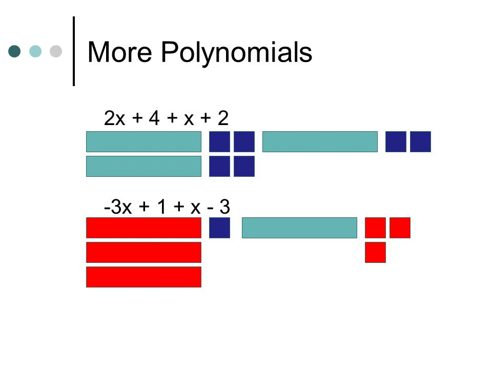 More Polynomials Use algebra tiles to simplify each of the given expressions.