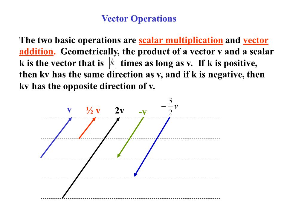 Vector Operations The two basic operations are scalar multiplication and vector addition. Geometrically, the product of a vector v and a scalar k is t