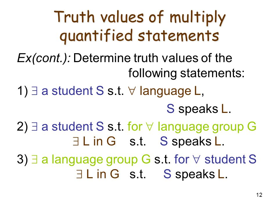 12 Truth values of multiply quantified statements Ex(cont.): Determine truth values of the following statements: 1)  a student S s.t.  language L, S