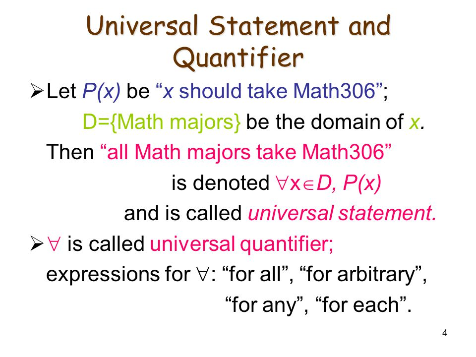 "4 Universal Statement and Quantifier  Let P(x) be ""x should take Math306""; D={Math majors} be the domain of x. Then ""all Math majors take Math306"" is"