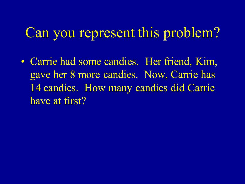 Can you represent this problem. Carrie had some candies.
