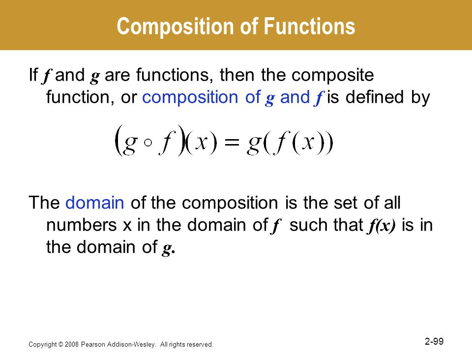 Composition of Functions If f and g are functions, then the composite function, or composition of g and f is defined by The domain of the composition is the set of all numbers x in the domain of f such that f(x) is in the domain of g.