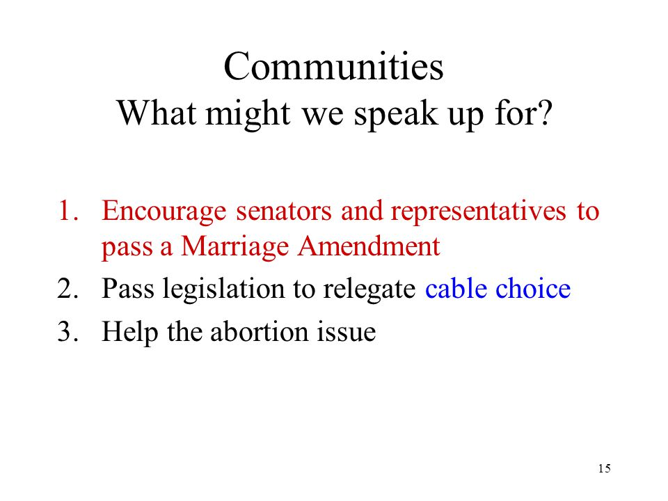 15 Communities What might we speak up for? 1.Encourage senators and representatives to pass a Marriage Amendment 2.Pass legislation to relegate cable