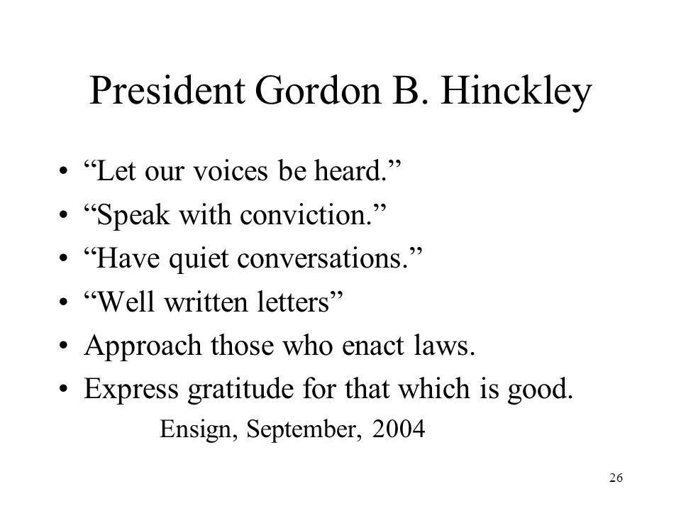 26 President Gordon B.