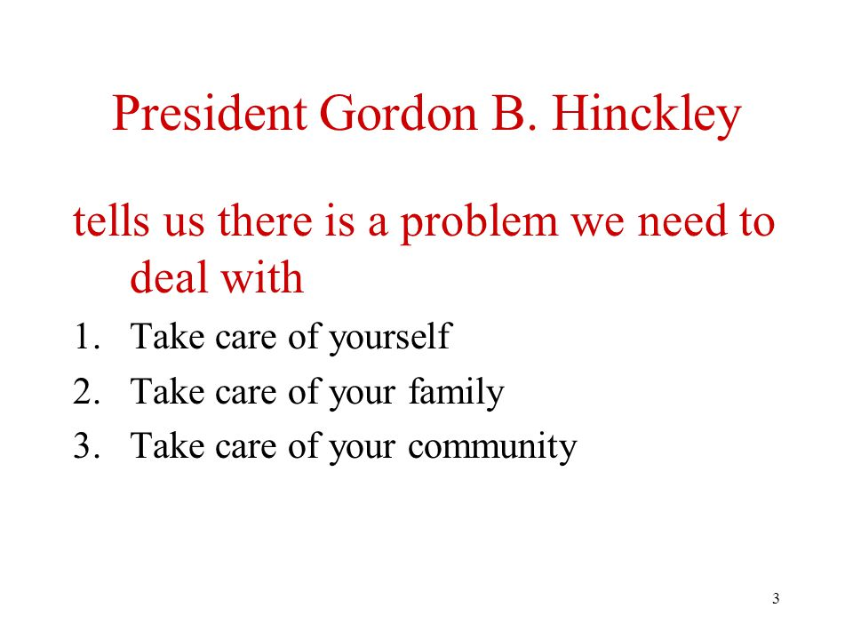 3 President Gordon B. Hinckley tells us there is a problem we need to deal with 1.Take care of yourself 2.Take care of your family 3.Take care of your