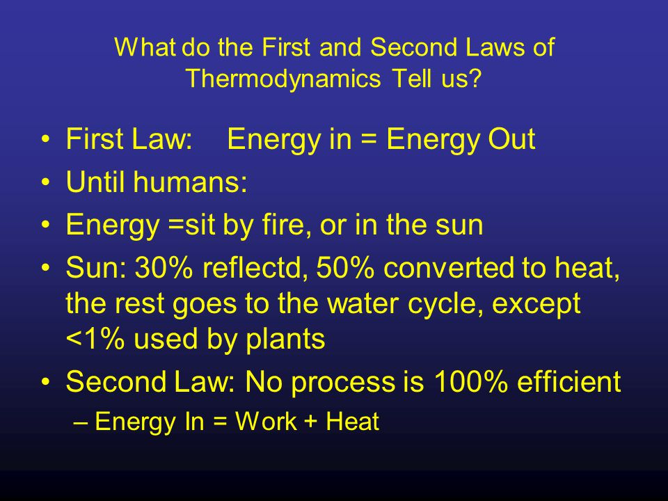 What do the First and Second Laws of Thermodynamics Tell us.