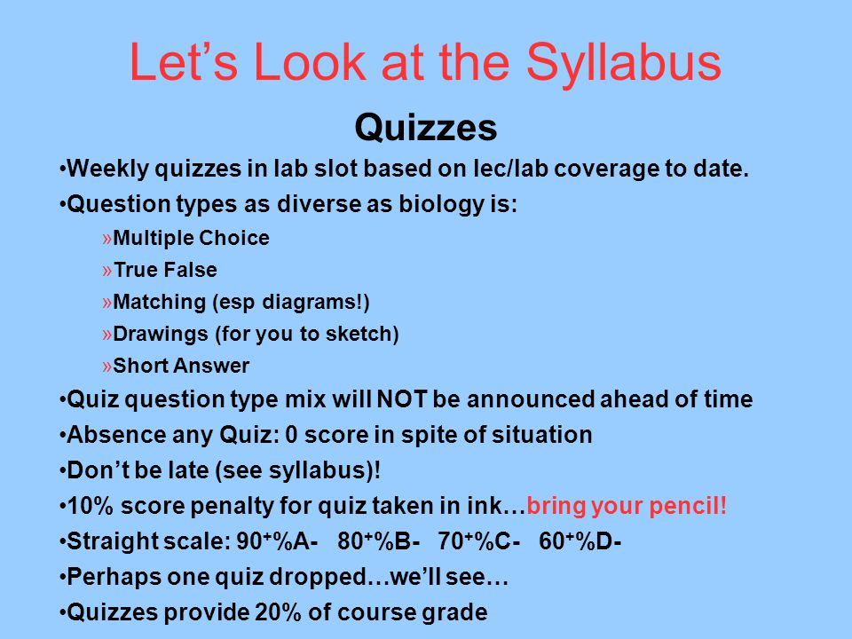Let's Look at the Syllabus Quizzes Weekly quizzes in lab slot based on lec/lab coverage to date.