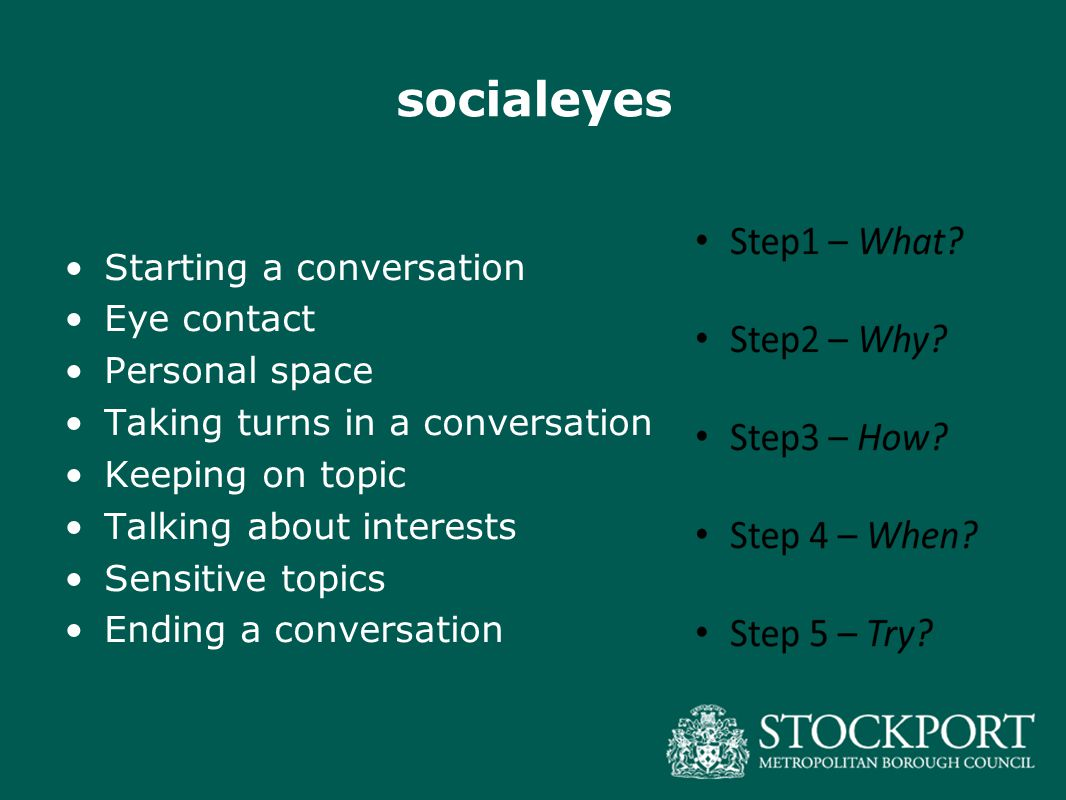socialeyes Starting a conversation Eye contact Personal space Taking turns in a conversation Keeping on topic Talking about interests Sensitive topics